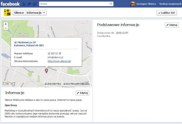 Link w informacji profilowej