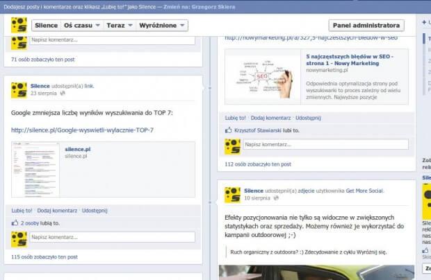 Linki w Facebook Timeline