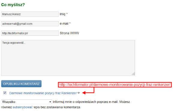 CommentLuv formularz