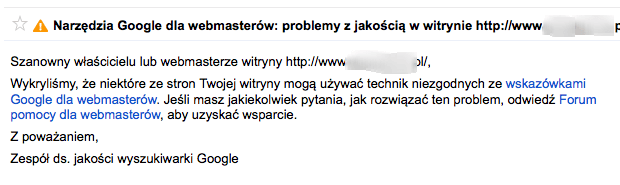 Problemy z jakością w witrynie