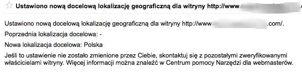 Ustawiono nową docelową lokalizację geograficzną dla witryny
