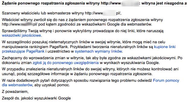 Żądanie ponownego rozpatrzenia zgłoszenia witryny: witryna jest niezgodna ze wskazówkami jakościowymi Google
