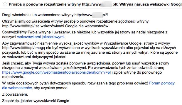 Prośba o ponowne rozpatrzenie witryny: Witryna narusza wskazówki Google dotyczące jakości