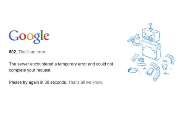 Google awaria