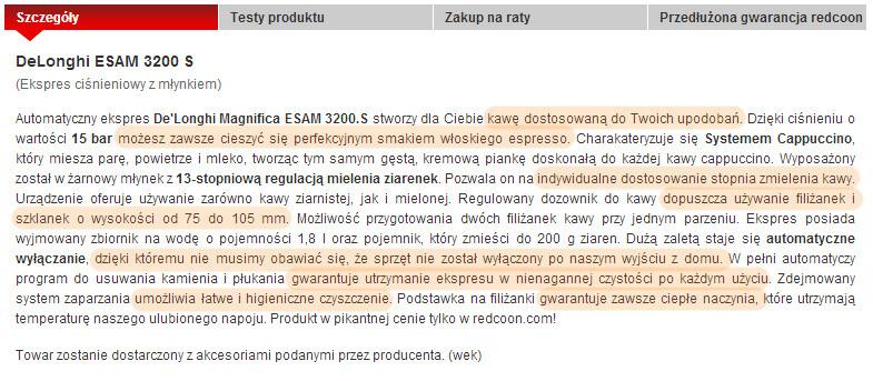 Opis produktu w sklepie redcoon.pl