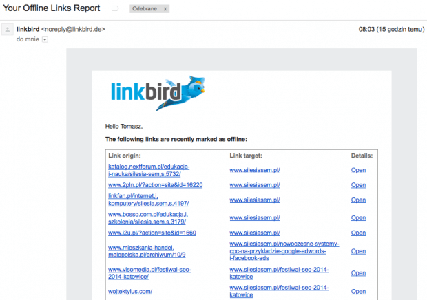 linkbird raport