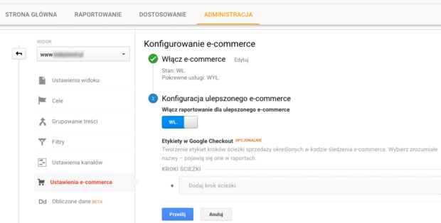 E-commerce w Google Analytics