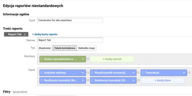 Konfiguracja raportu - Współczynnik konwersji użytkowników wyszukiwarki wewnętrznej