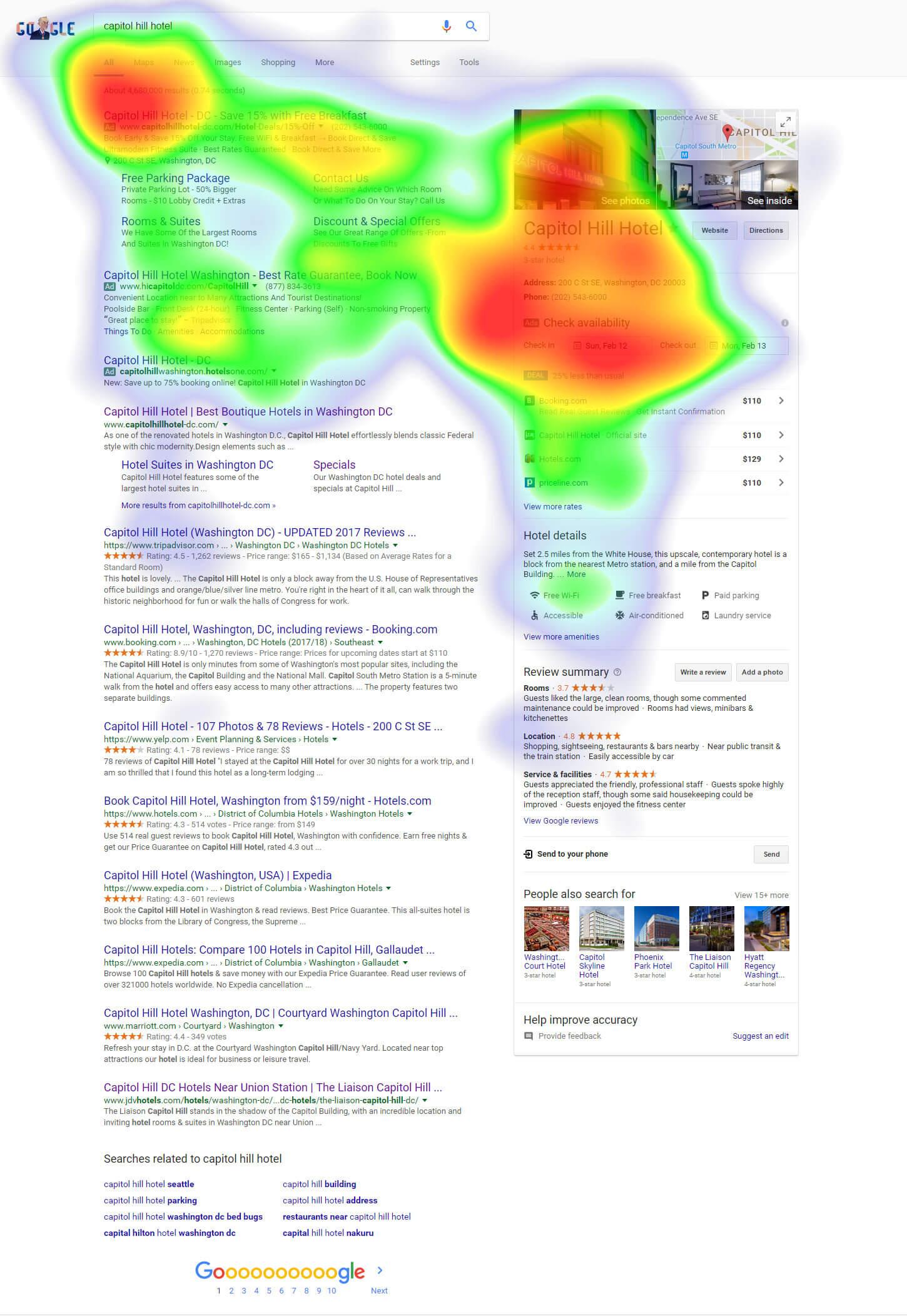 Capitol Hill Hotel heatmap