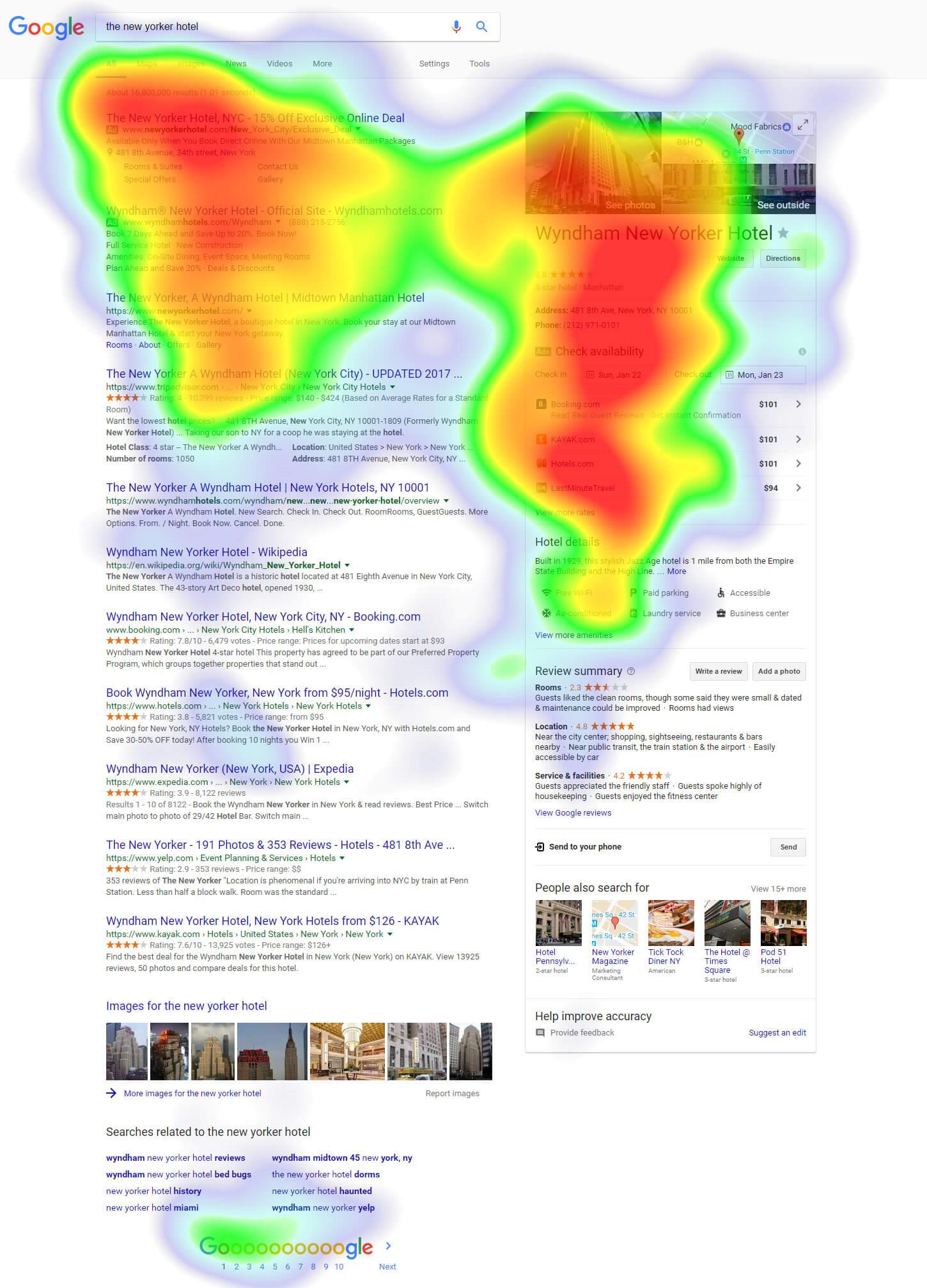 The New Yorker Hotel heatmap